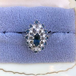 Jewelry - Rhinestone And Faux Sapphire Ring